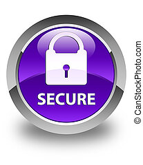 Secure (padlock icon) glossy purple round button