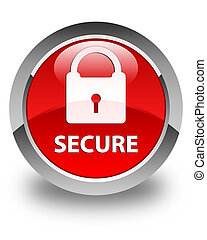 Secure (padlock icon) glossy red round button