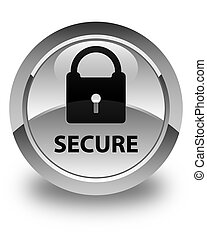 Secure (padlock icon) glossy white round button