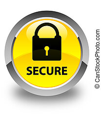 Secure (padlock icon) glossy yellow round button