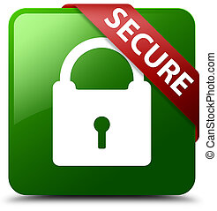Secure (padlock icon) green square button red ribbon in corner