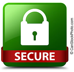 Secure (padlock icon) green square button red ribbon in middle
