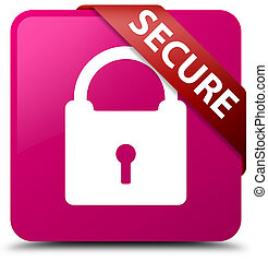Secure (padlock icon) pink square button red ribbon in corner