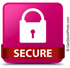 Secure (padlock icon) pink square button red ribbon in middle