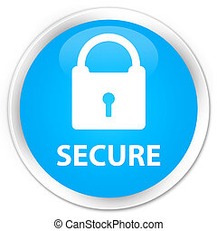 Secure (padlock icon) premium cyan blue round button