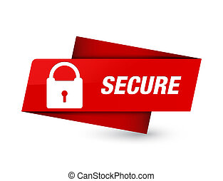 Secure (padlock icon) premium red tag sign