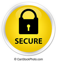 Secure (padlock icon) premium yellow round button