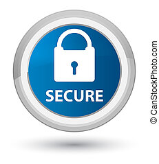 Secure (padlock icon) prime blue round button