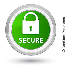 Secure (padlock icon) prime green round button