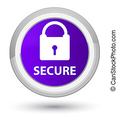 Secure (padlock icon) prime purple round button