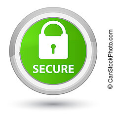 Secure (padlock icon) prime soft green round button