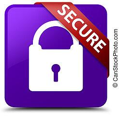 Secure (padlock icon) purple square button red ribbon in corner