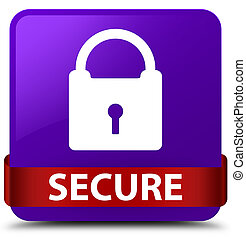 Secure (padlock icon) purple square button red ribbon in middle