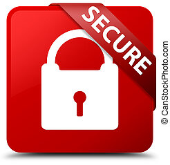 Secure (padlock icon) red square button red ribbon in corner
