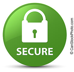 Secure (padlock icon) soft green round button