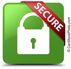 Secure (padlock icon) soft green square button red ribbon in corner
