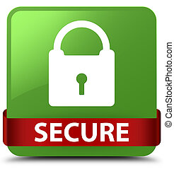Secure (padlock icon) soft green square button red ribbon in middle