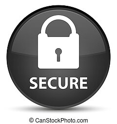 Secure (padlock icon) special black round button