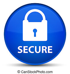 Secure (padlock icon) special blue round button