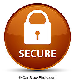 Secure (padlock icon) special brown round button