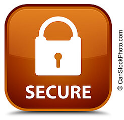 Secure (padlock icon) special brown square button
