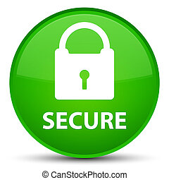 Secure (padlock icon) special green round button