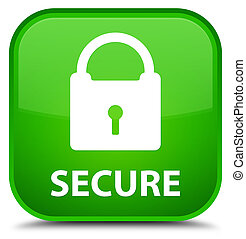 Secure (padlock icon) special green square button