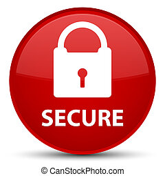 Secure (padlock icon) special red round button