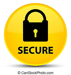 Secure (padlock icon) special yellow round button