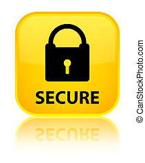 Secure (padlock icon) special yellow square button