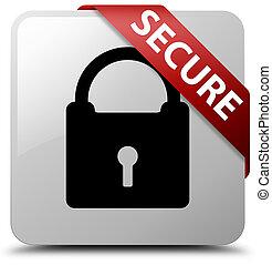 Secure (padlock icon) white square button red ribbon in corner