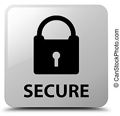 Secure (padlock icon) white square button