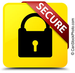 Secure (padlock icon) yellow square button red ribbon in corner