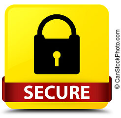 Secure (padlock icon) yellow square button red ribbon in middle