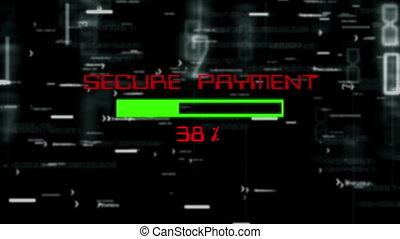 Secure payment data progress bar on digital background