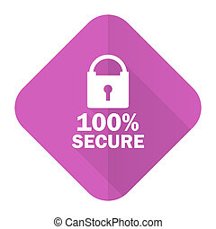 secure pink flat icon