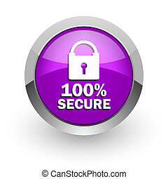 secure pink glossy web icon