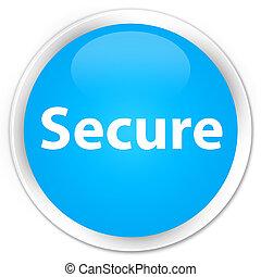 Secure premium cyan blue round button