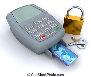 Secure purchase - Credit card in machine with padlock and...