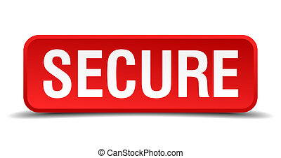 Secure red 3d square button isolated on white