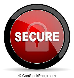 secure red circle glossy web icon on white background - set440