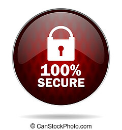 secure red glossy web icon on white background