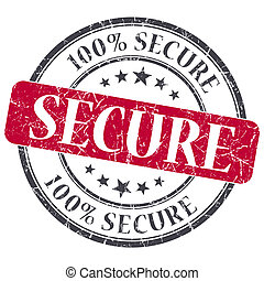 Secure red grunge round stamp on white background