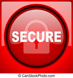 secure red icon plastic glossy button
