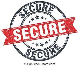 secure red round grunge vintage ribbon stamp