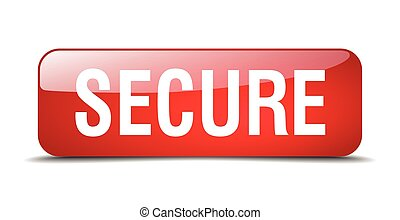 secure red square 3d realistic isolated web button