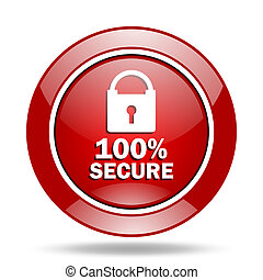 secure red web glossy round icon