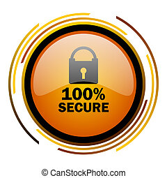 secure round design orange glossy web icon