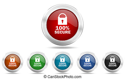 secure round glossy icon set, colored circle metallic design internet buttons