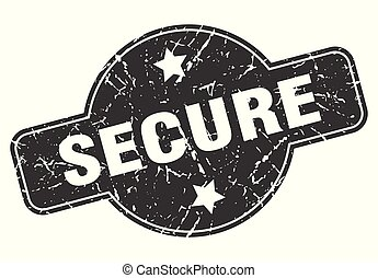 secure round grunge isolated stamp